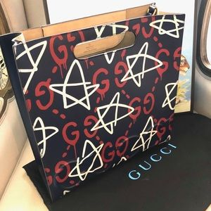 Gucci Ghost leather tote in Navy
